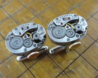 Elgin Watch Movement Cufflinks. Great for Fathers Day, Anniversary, Wedding or Just Because.  #608