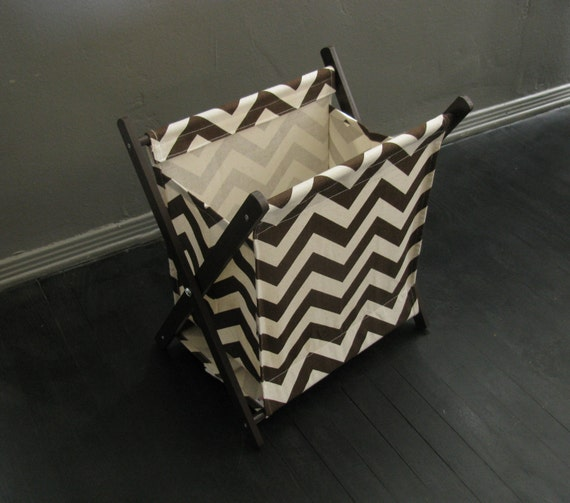 SALE ~ Brown & Cream Chevron Stripe Pet Toy Hamper with frame