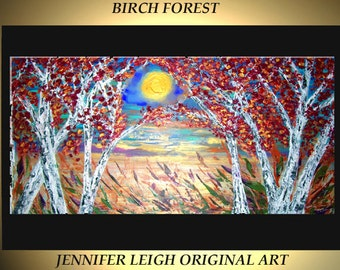 "Original Large Abstract Painting Modern Contemporary Canvas Art Red Gold White ""BIRCH FOREST"" Trees 48x24 Palette Knife Texture Oil J.LEIGH"
