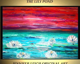 Original Large Abstract Painting Modern Contemporary Canvas Art Turquoise Orange LILY POND Flowers  36x24 Palette Knife Texture Oil J.LEIGH