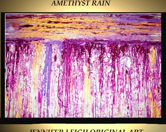 """Original Large Abstract Painting Modern Contemporary Canvas Art Gold Purple White AMETHYST RAIN 36""""x24"""" Palette Knife Texture Oil J.LEIGH"""