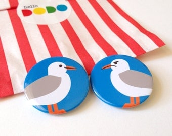 Seagull Button Badge Pack, Seagull Pinback Button, Seaside Badges, Happy Grumpy Seagull Badges, Brighton badge, funny bird button badge