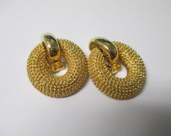 Vintage gold tone textured circles clip on  earrings,   gold toned metal signed Korea