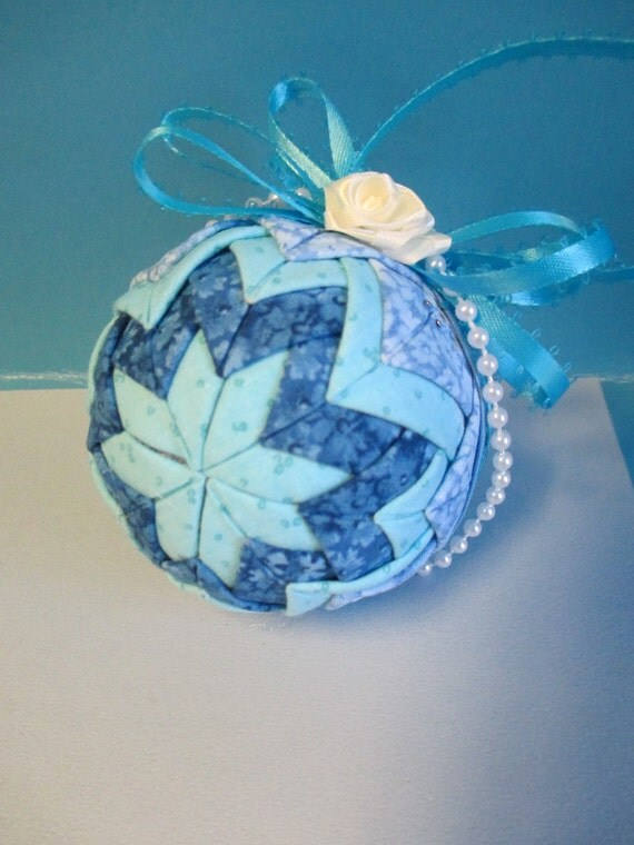 Quilted Fabric Blue Quilted Christm...