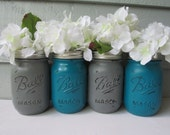 Painted and Distressed Ball Mason Jars- Dark Turquoise and Gray-Set of 4 Flower Vases, Rustic Wedding, Centerpieces
