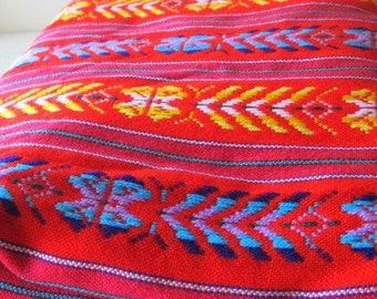 "Mexican Fabric Bright Red 31"" width by one yard."