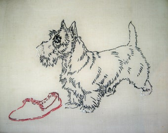 Vintage Hand Embroidered Scottie Dog Picture
