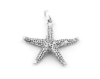 Sterling Silver Ocean Starfish Charm (3d Charm)