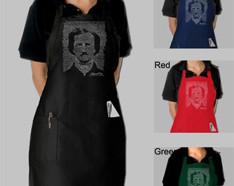 Full Length Dual Pocket Apron - Edgar Allen Poe - Created using the full text to The Raven