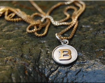 Initial Charm Necklace, Fused Gold Initial Pendant, Gold Letter Charm, Personalized Jewelry, Sterling Silver Gold Necklace, Monogram charm