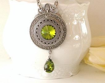Olivine Swarovski Necklace  Swarovski Crystal Necklace  Victorian Silver Necklace Y Swarovski Necklace Gothic Jewelry