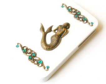 iPhone 4 and 4s Flip Case  Brass Mermaid on White Leather Victorian iPhone Case