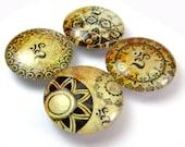 Om Vintage Inspired Glass Fridge Magnet Set of 4