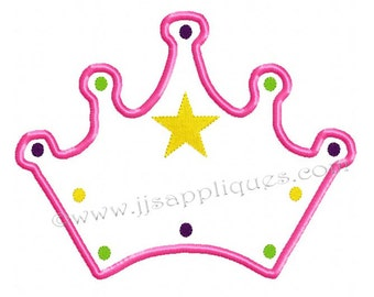 Instant Download - Princess Designs Princess Crown Design Embroidery Applique - Crown, 3 sizes for 4x4, 5x7, 6x10 sized hoops