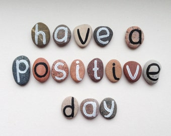 Have a Positive Day, 16 Magnets Letters, Custom Quote, Beach Pebbles by Happy Emotions, Inspirational Words, Gift Ideas, Sea Stones
