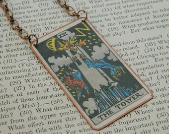 Tarot necklace or pendant tarot jewelry The Tower mixed media jewelry supernatural