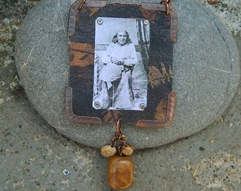 Chief Seattle necklace mixed media jewelry
