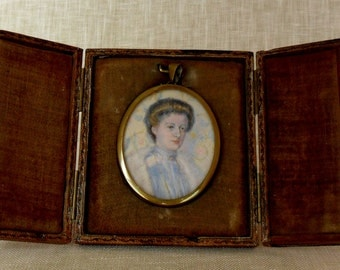 Exquisite Watercolor Portrait Miniature Painting with Leather Case c. Late 1800's
