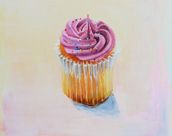 Art Print Cupake - Limited Edition Giclee Reproduction of Acrylic Painting - 10 x 10 inches