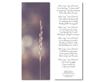 Photo Bookmark | When I Say I am a Christian Poem | Carol Wimmer | Nature | Church | Christianity | Stocking Stuffer | Under 5