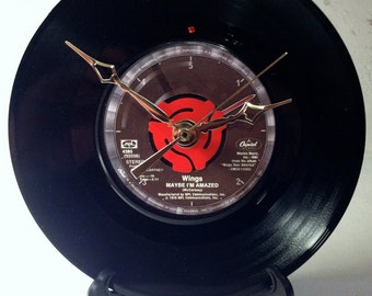 """Recycled Paul McCartney & Wings 7"""" Record  / Maybe I'm Amazed / Record Clock"""