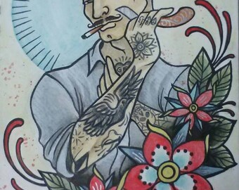 Tattooed Fellow Shaving Print