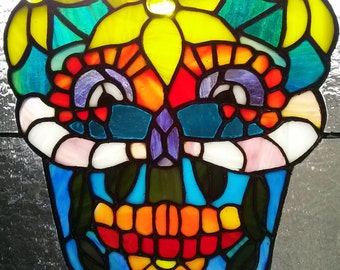 Day of the Dead Stained Glass Panel -  Día de los Muertos