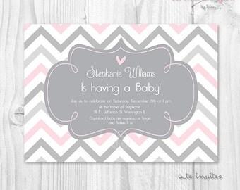 Girl baby shower printable invitation pink and grey chevron