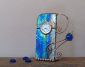 Unique Stained Glass Desk Clock, Blue, Green, Purple and Gold Iridescent