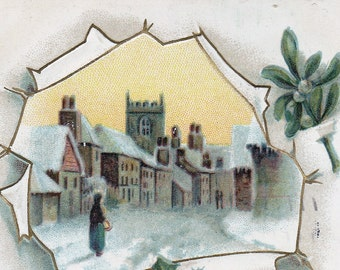 Ca. 1911 Victorian Embossed Christmas Greeting Postcard w/ Snow Scene and Holly - 582