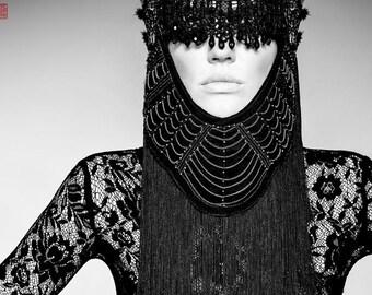 MADE TO ORDER  Luscious Eye mask Vampire Burning Man Black geisha fantasy Gaga costume headdress furry headpiece wig cosplay steampunk