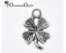 10 Antiqued Silver Alloy Small 11mm Four Leaf Clover Charms - A1J802 ZB