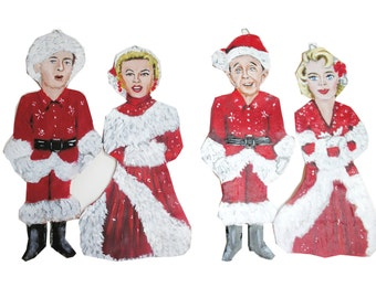 White Christmas Hand Painted Holiday Christmas Tree Ornaments Bing Rosemary Danny Vera Set of Four