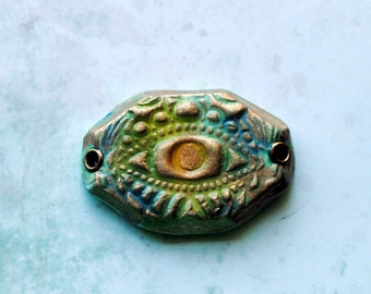Watchful Eye Pendant, connector, focal bead, artisan bead, art bead, jewelry component