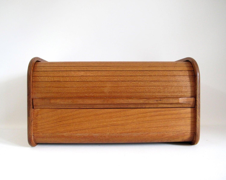 Large Teak Tambour Door Box By Kalmar