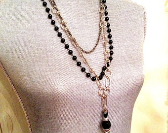 GORGEOUS One of a Kind Crucifix Cross Black Metal Necklace