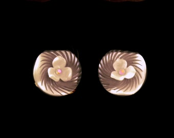 1950's Clip Earrings Pearlescent Soft Ivory with Flower and Aurora Borealis Center on Black Fringe Overlay