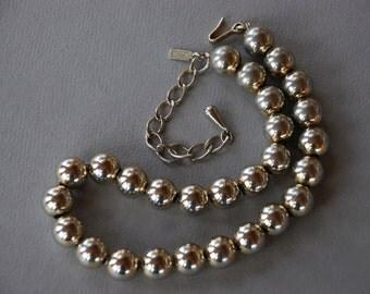 Vintage Monet Gold Tone Beaded Choker Necklace Adjustable Mad Men 1960's // Vintage Designer Costume Jewelry