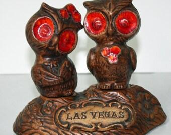 Owl Salt and Pepper Shakers ,Las Vegas Souvenirs , Ceramic, 60s or 70s