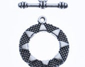 10 antique silver toggle clasps - geometric sun pattern  - 27mm x 23mm