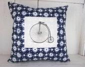 50% CLEARANCE SALE Bicycle pillow, shabby chic, vintage bicycle, bike decor, farmhouse decor, pillow, blue pillow