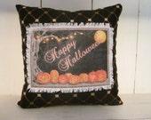 50% CLEARANCE SALE Fall pillow, happy halloween, halloween decor, pumpkins, fall pillow, rustic halloween,decorative pillows, burlap, crow