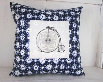 50% CLEARANCE SALE Bicycle pillow, shabby chic, vintage bicycle, bike decor, farmhouse decor, pillow, blue pillow
