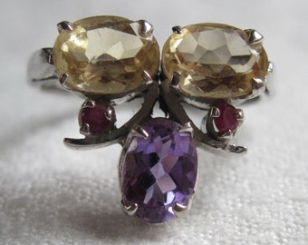 Sterling Ring with Amethyst and Citrine Size 6