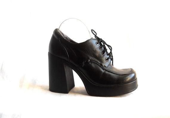 90s Platform Shoe Black Platform Heel Platform Oxford Shoe 90s Club Kid Shoe 90s Rave Shoe Goth Shoe Black Platform Shoe Funky Shoe Chunky