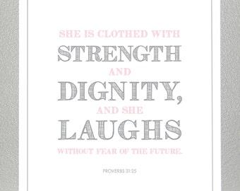 baby dedication gift - Proverbs 31:25  - Print