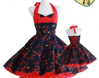 50's vintage dress navy blue  red cherries Tailor Made after your measurements #0028