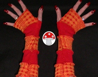 Orange You Plaid Arm Warmers Fingerless Gloves Recycled Repurposed Sweater Warmies Orange Red Plaid Mittens Thick Warm Retro Sleeves