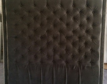 Diamond Tufted With Double Nailhead Border in Dark Grey Velvet(Queen, Extra Tall)