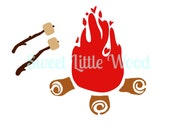 Cute Campfire 2 x digital SVG file in black line format and color format, JPEG and PNG image files
